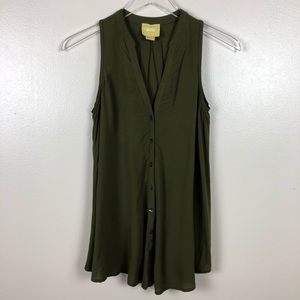 Anthropologie Maeve Green Sleeveless Button Down